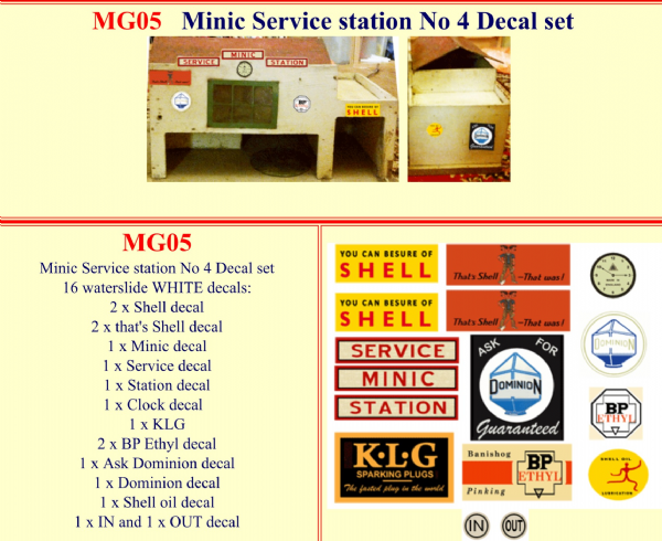 MG05 Tri-ang ( Triang ) Minic Service Station No. 4 Decal set